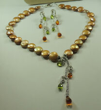 Statement Golden Coin Pearl Necklace with Quartz  Earrings Set Wedding