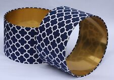 Lampshade Navy Blue Quatrefoil Fabric with Brushed Gold Lining