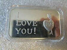 1973 1oz CRABTREE MINT I Love You Vintage .999 Fine Silver Art Bar