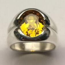 MJG STERLING SILVER MEN'S RING. 12 x 10mm LAB FACETED GOLDEN TOPAZ. SIZE 9.