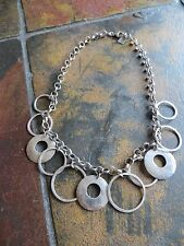 "Silpada Retired Hammered Circle Ring Necklace .925 Sterling Silver 17""  N1325"