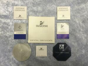 Swarovski Set of 8 Swarovski COA certificates / booklets