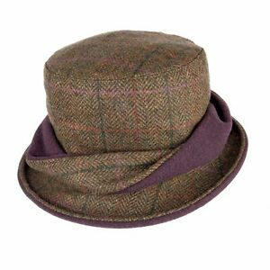 Heather Hats Ladies Elise Tweed Twist Hat Green Lilac Country Hunting Shooting