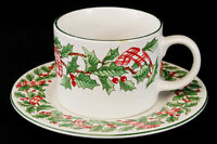Mervyn's Majesticware Holiday Ribbon Stoneware Cup And Saucer Set