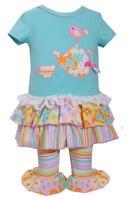 Bonnie Jean Spring Tunic Ruffled Capri Set Teapot Bird Applique Baby Girls New