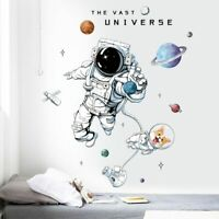 Space Astronaut Planets Wall Stickers Decals for Kids Boy Room Decoration DIY