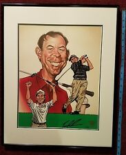 TOM LEHMAN *Authentic* Autographed 16 X 22 Framed Hand Painted Caricature *COA*