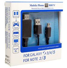 CAVO MHL PER SAMSUNG GALAXY S3 S4 S5 NOTE 2 NOTE 3 HD MICRO USB A HDMI HDTV