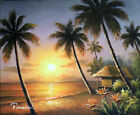 Hawaii Beach Sunset Palms Bird Of Paradise Flowers Oil Painting 20X24 STRETCHED