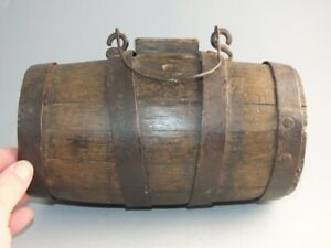 SMALL COLONIAL ANTIQUE WOODEN WHISKEY CASK METAL BANDED BARREL
