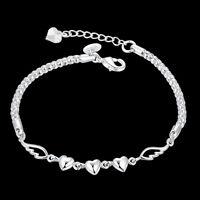 925 Sterling Silver Women Charm Love Heart Beads Bracelet Bangle Jewelry Cute