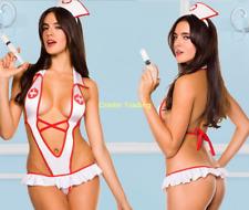Womens Sexy Nurse Cosplay Teddy Lingerie Underwear Intimates Sleepwear Nightwear