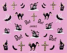 Halloween Black Cats Castle Bats BOO Cross GOLD Stud 3D Nail Art Sticker Decal