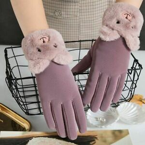 Women's Touch Screen Gloves Velvet Cute Bear Embroidery Thick Suede Warm Mittens