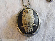 #JRK917E Owl Locket cameo Box Pill Necklace Photo Memory Keepsake Antique Silver