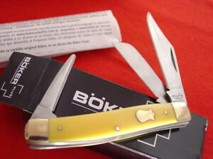 """Boker Plus 4"""" Yellow Delrin 3 Punch Blade Stockman Stock Knife MINT IN BOX ld"""