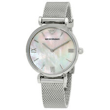 Emporio Armani Retro White Mother of Pearl Dial Ladies Watch AR1955