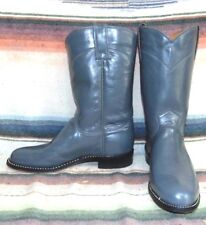Womens Vintage J Chisholm Gray Leather Roper Cowboy Boots 6.5 B NEW In Box
