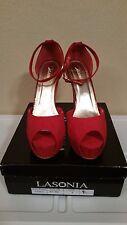 Lasonia Red Ankle Strap Peep-toe Pump Size 9