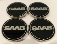4 X SAAB Black Alloy Wheel Centre Hub Cap Badge (Set of 4) 63mm 9-3 9-5 900 NEW.