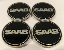 4 x saab black alloy wheel centre hub cap badge (set de 4) 63mm 9-3 9-5 900 nouveau.