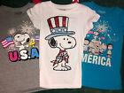 New Snoopy Peanuts T-shirt Tee Kid's Girls S M L Xl America Patriotic 4 Colors