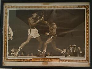Vintage Boxing Picture Sugar Ray Robinson Vs Kid Gavilan July 1949 Framed