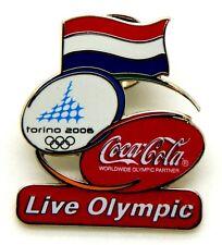 Pin Spilla Olimpiadi Torino 2006 - Coca-Cola Flag Netherlands