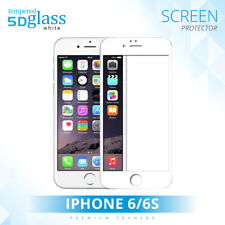 For Apple iPhone 6/6s Full Edge Cover 5D Tempered Glass Screen Protector White