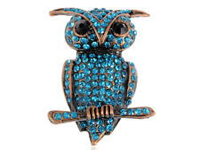 Plated Owl Fashion Pin Brooch Jewelry Sapphire Sea Blue Crystal Antique Bronze