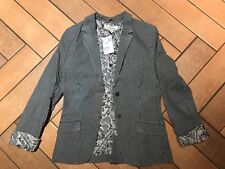 H&M £30 Blue/White Striped Short Jacket Blazer Size 8/34 BNWT