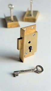 "C & T SECURE 2 LEVER Brass Cut Cupboard Cabinet Door LOCK 2 1/2"" x 1 1/4"""