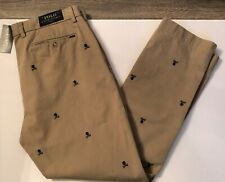Polo Ralph Lauren Men 36X30 NWT Slim Skull Crossbones Tan Cotton Chino Pants NEW