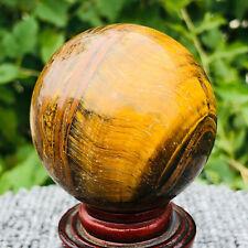 250g Natural Tiger-s Eye Quartz Crystal Sphere Ball Healing B422