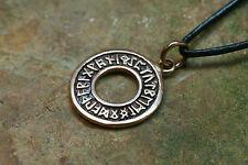 Pendentif amulette Runes croix bronze plus bracelet en cuir VIKING runenschmuck