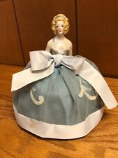 "Vintage Antique Porcelain Lovely Lady in Blue Half Doll Pin Cushion 5 1/2"" Tall"