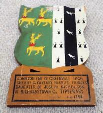 Vintage Wooden Greene & Nicholson Family Coat of Arms / Crest / Plaque