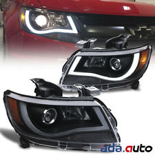 [LED Bar Plank Style] 2015-2018 Chevrolet Colorado Black Projector Headlights