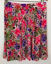Macy's Grace Elements Ivory Pink Multi-Color Floral Knee-Length Skirt Size M