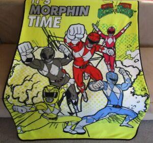 New Mighty Morphin Power Rangers Fleece Throw Gift Blanket Cartoon Kids TV Show
