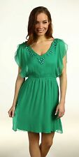 Hale Bob Beaded Green Silk Chiffon A Line Dress Flutter XS NWT 2SNY6003 *