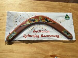 """Australian Made 14"""" Carded Timber Throwing Boomerang Painted """"Sunset""""design"""