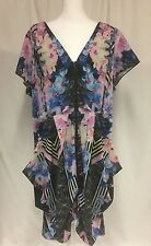 CITY CHIC 2x Front Zip Tunic Dress Plus Floral Mirror Print Drape
