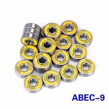 8pcs yellow Abec-9 Skateboard Bearing Skate Longboard Rollerblade Wheel