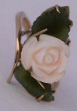 Fine 585 14K solid Yellow gold, carved flower Angel skin Pink Coral & Jade ring