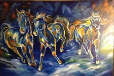 Abstract Equine Blue Run by Marcia Baldwin