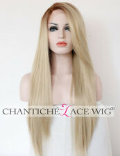 Ombre Blonde Dark Roots Light Blond Wigs Long Straight Synthetic Lace Front Wigs