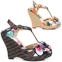 Poetic Licence Behave Yourself Tropical Floral 1950s Retro Vintage Wedges Shoes