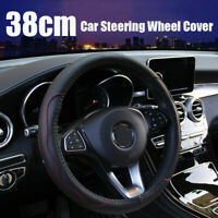 Auto Car Steering Wheel Cover Black&Red Stitching PU Leather Car Universal 38cm