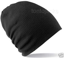 Black Floppy Baggy Slouch Tall Oversize Beanie Hat